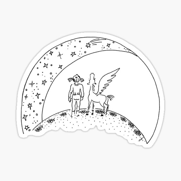 Pegasus and girl looking up at stars Sticker