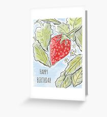 """Happy Birthday"" Strawberry Painting Greeting Card"