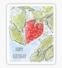 """Happy Birthday"" Strawberry Painting Sticker"