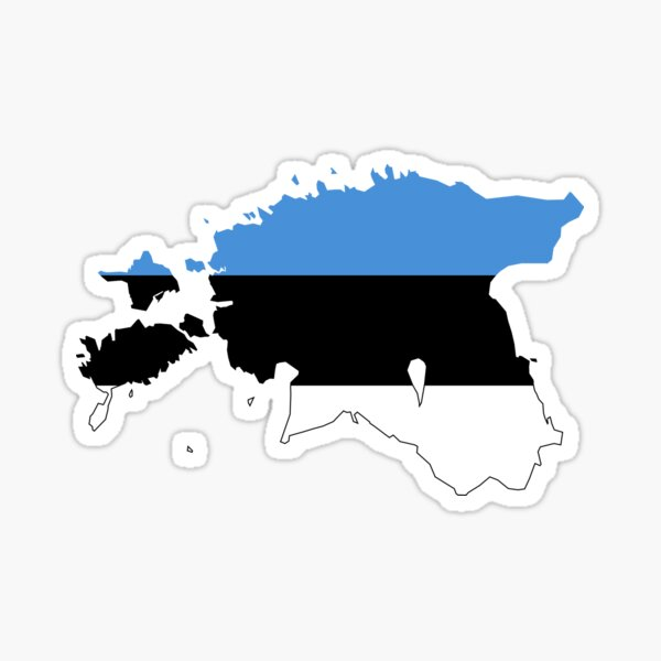 Flag Map of Estonia  Sticker