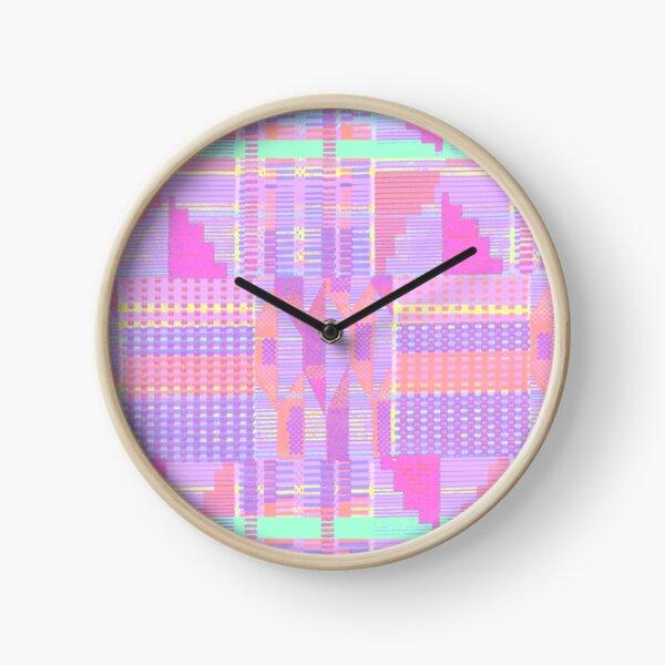 Pastel Pink Kente  Clock