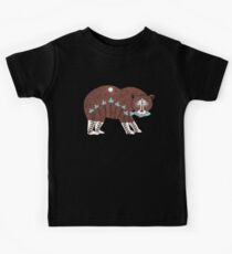 Folk Art Spirit Bear with Fish Kids Tee