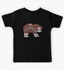 Folk Art Spirit Bear with Fish Kids Tee