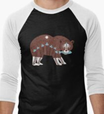 Folk Art Spirit Bear with Fish Men's Baseball ¾ T-Shirt