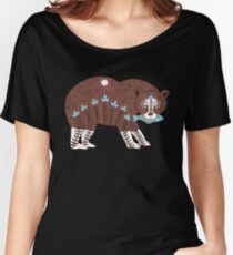 Folk Art Spirit Bear with Fish Women's Relaxed Fit T-Shirt