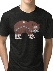 Folk Art Spirit Bear with Fish Tri-blend T-Shirt