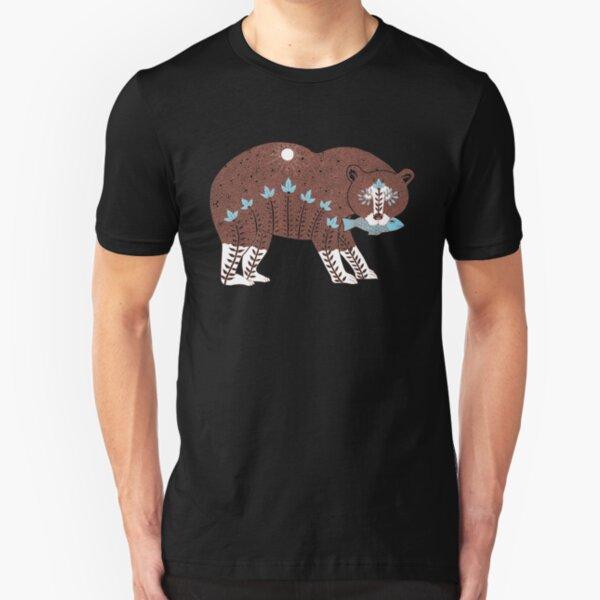 Folk Art Spirit Bear with Fish Slim Fit T-Shirt