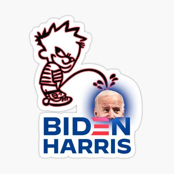Calvin orinando en la cabeza de Biden es gracioso Pegatina