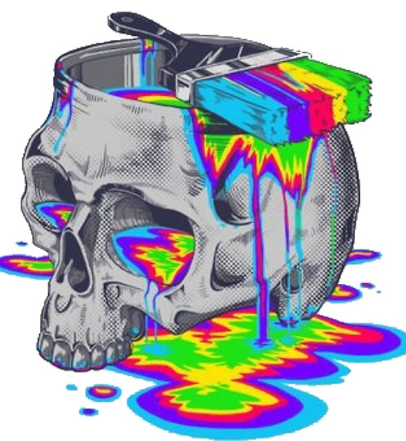 Trippy Colorful Skull by Jamest406