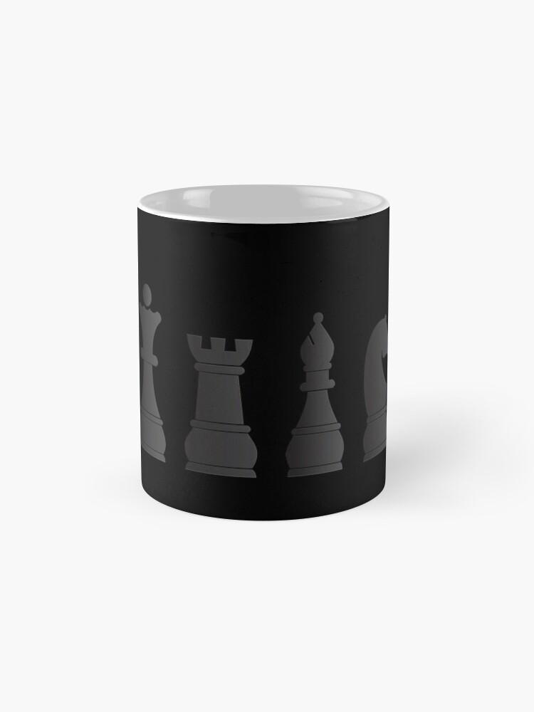 Alternate view of All black one white chess pieces Mug