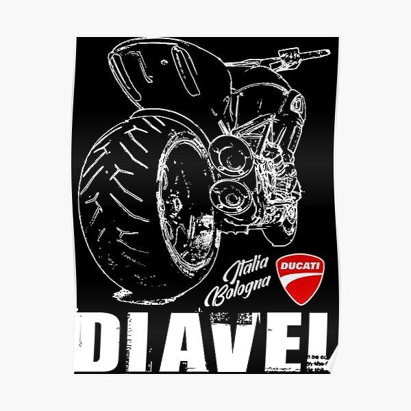 Ducati Diavel - The Devil - T-shirt, sweat à capuche, autocollant, masque Classic Motorrad Italia Poster