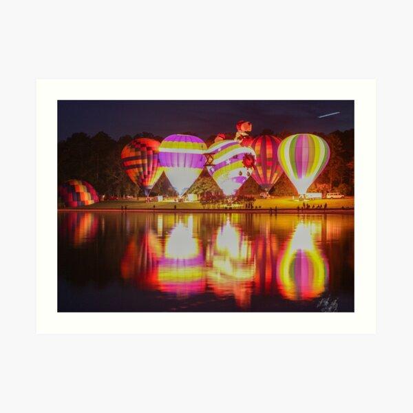 Hot Air Balloon Reflections at Night Art Print