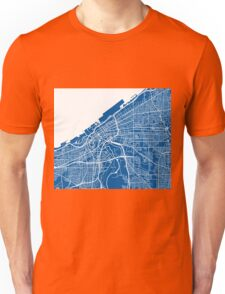 Cleveland Map - Deep Blue Unisex T-Shirt