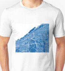 Cleveland Map - Deep Blue T-Shirt
