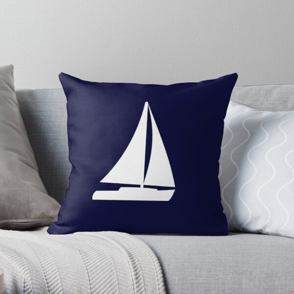 Sailboat Silhouette On Navy Blue Throw Pillow