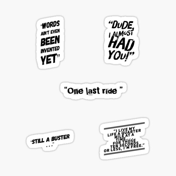 Fast Notable Funny Quotes Dom and Brian Pack Sticker