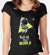 Out Of This World Cute Astronaut Women's Fitted Scoop T-Shirt
