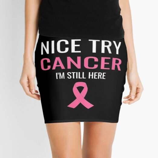 Mujeres-Nice-Try-Cancer-Breast-Cancer-Awareness-Pink-Ribbon-V-neck Minifalda