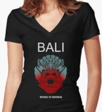 Balinese Mythology Women's Fitted V-Neck T-Shirt