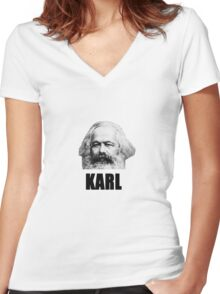 Old Karl Women's Fitted V-Neck T-Shirt