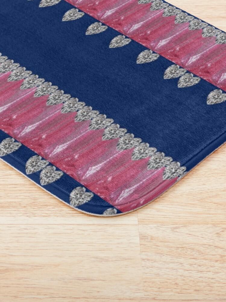 Alternate view of Diamonds, Metallic Pink and Blue print Bath Mat