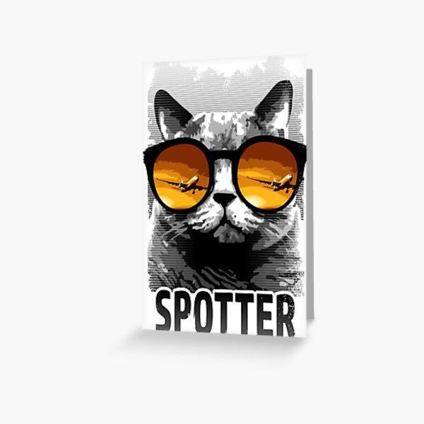 Plane Spotting Cat Greeting Card