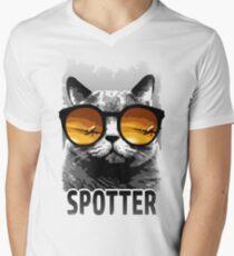 Plane Spotting Cat Men's V-Neck T-Shirt