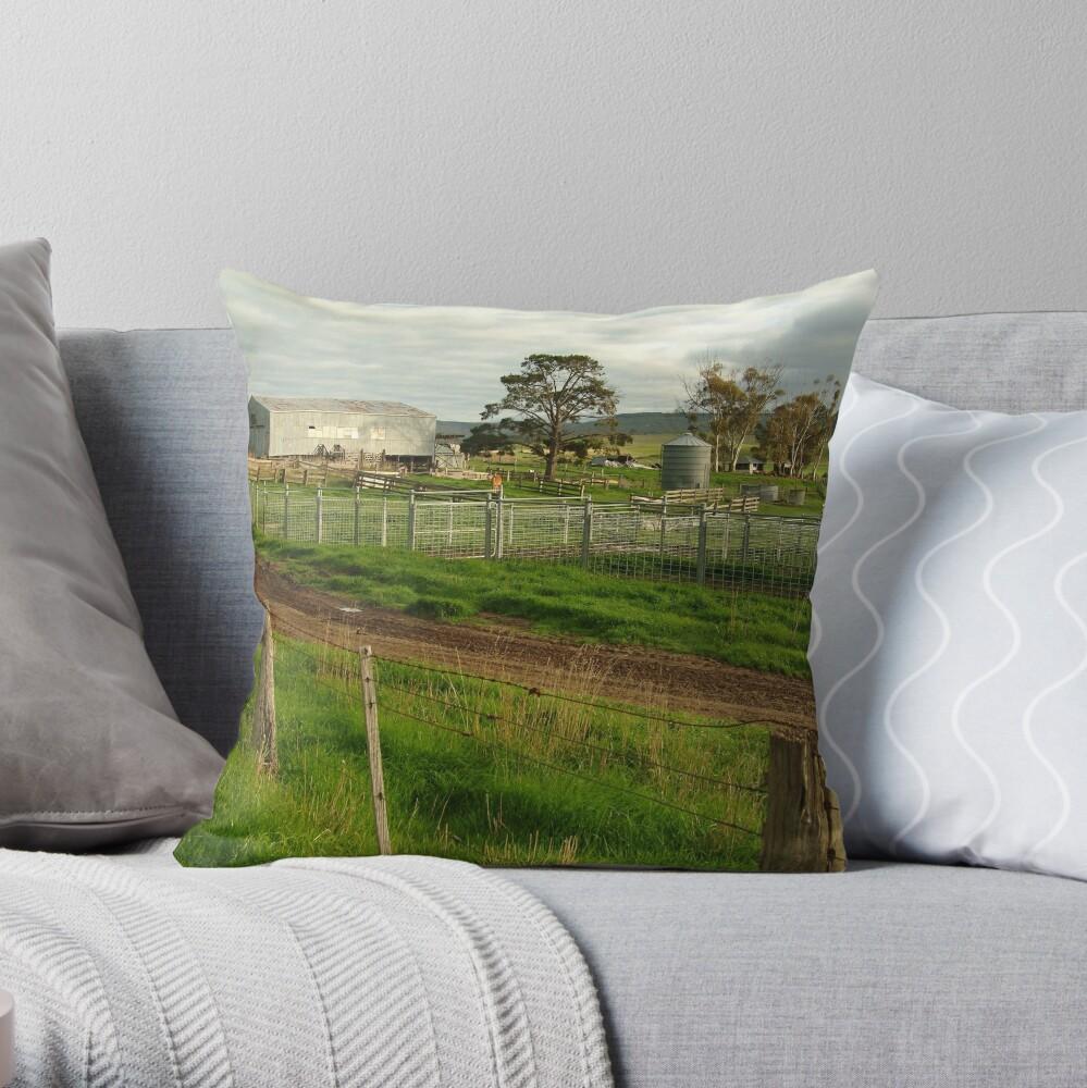 Joe Mortelliti Gallery - Rowsley valley farm, near Bacchus Marsh, Victoria, Australia.  Throw Pillow