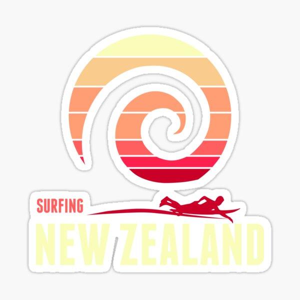 Surf New Zealand  in a retro design Sticker