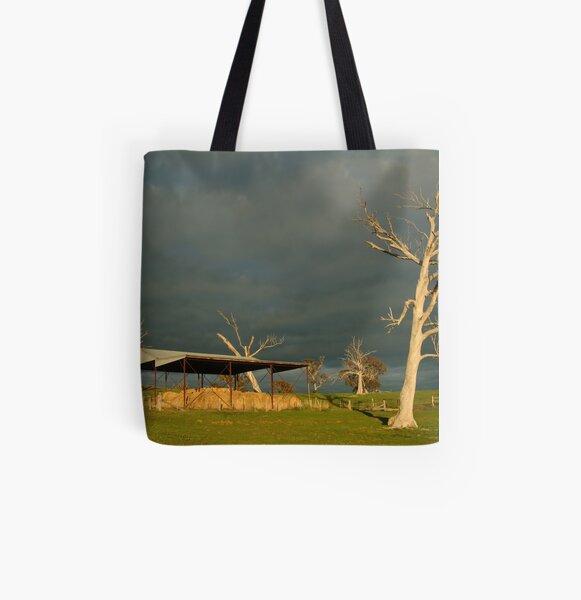 Joe Mortelliti Gallery - Sunrise storm clouds over the Rowsley valley, near Bacchus Marsh, Victoria, Australia. All Over Print Tote Bag