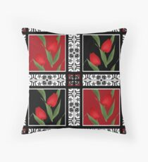 Oriental pattern modern elements with flowers of red tulips Throw Pillow