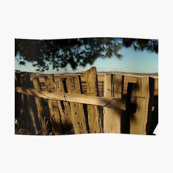 Joe Mortelliti Gallery - Old fence, Ascot Farm Lands Poster