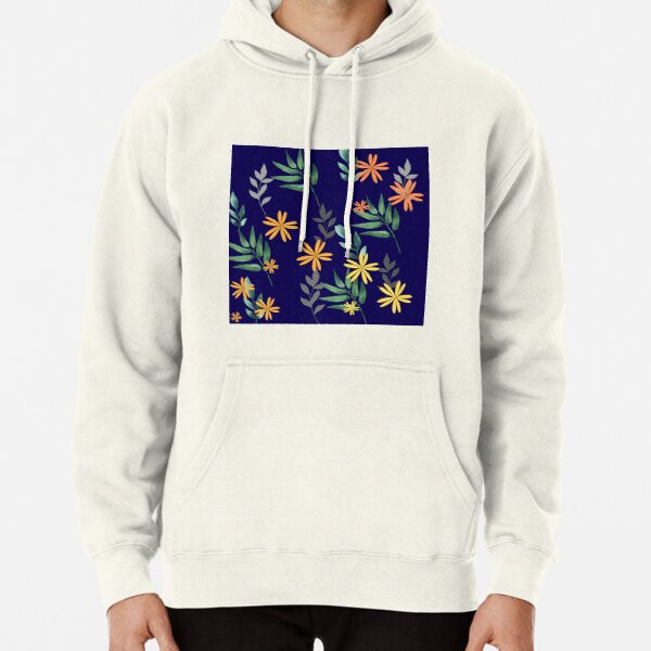 Floral and leafs Pullover Hoodie