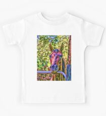 Alert horse at gate in Queensland, Australia Kids Clothes