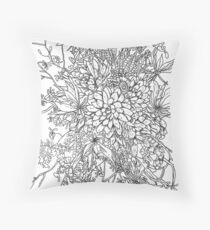 Succulents & Orchids - B&W Throw Pillow