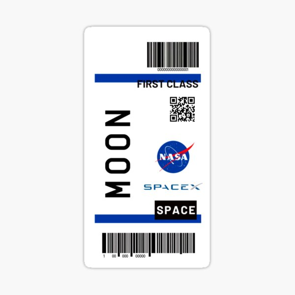 Moon ticket Nasa Spacex Sticker