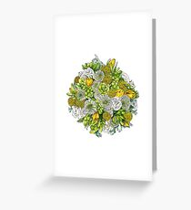 Yellow Roses & Succulents Greeting Card