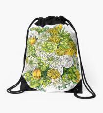 Yellow Roses & Succulents Drawstring Bag