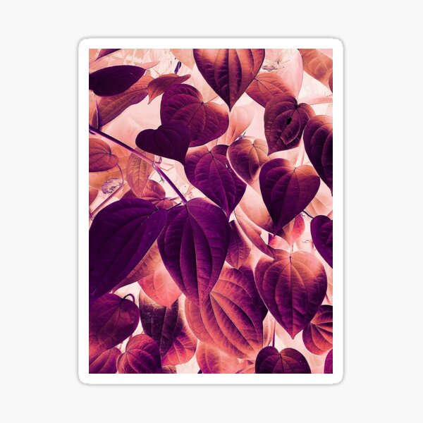 Purple Synthwave Nature Tropical Leaf Hearts Sticker