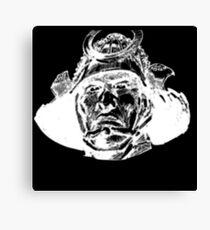 Samurai  Head White Canvas Print