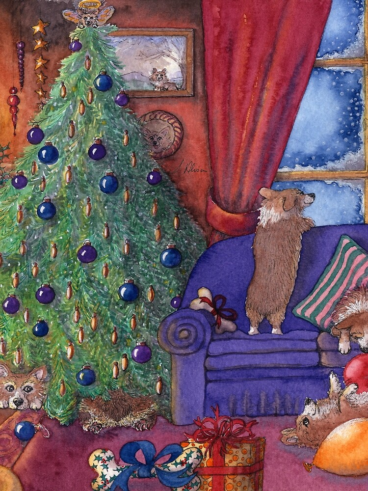 Corgi dogs excited on Christmas eve, watching for Santa by SusanAlisonArt