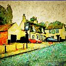 A digital painting, using DAP, of The Crown Inn, Smallburgh, Norfolk 15th century by Dennis Melling