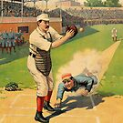 Baseball, Runner Sliding past catcher, early 1900s by coralZ