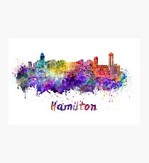 Hamilton skyline in watercolor Photographic Print