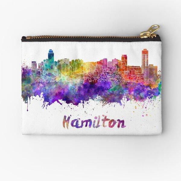 Hamilton skyline in watercolor Zipper Pouch
