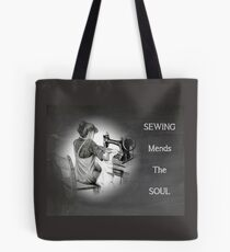 Chalkboard Art, Sewing Mends the Soul, Old Sewing Machine Tote Bag