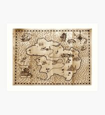 Pirate treasure map Art Print