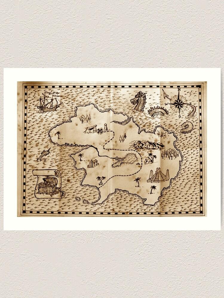 Pirate Treasure Map Art Print By Paulfleet Redbubble