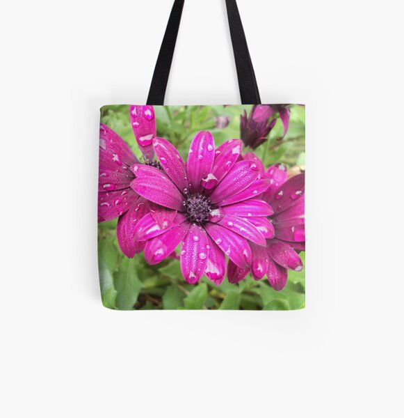 Raindrops on Purple Daisies Photography All Over Print Tote Bag