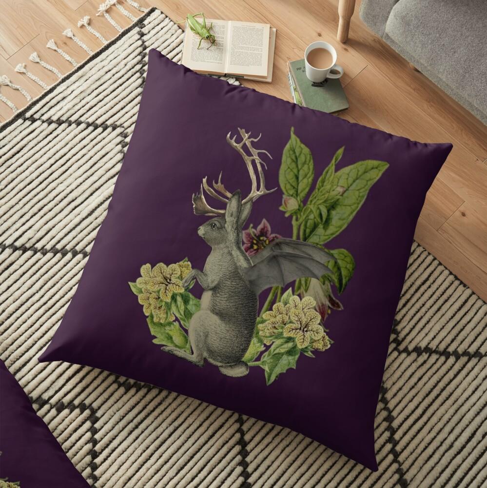 Jackalope Vespertilio (purple) Floor Pillow